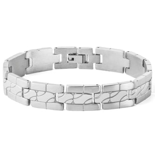 Men's Stainless Steel Polished and Brushed Grooved Link Bracelet