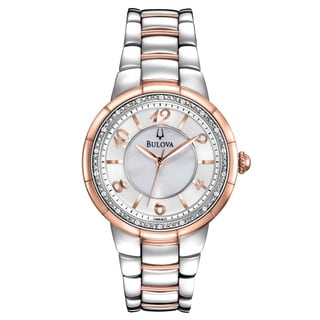 Bulova Women's 98R162 Diamond Big Numbers Rose Gold and SilverTone Watch