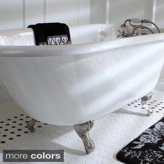 Classic Roll Top Petite 54-inch Cast Iron Clawfoot Tub with Tub Wall Drilling