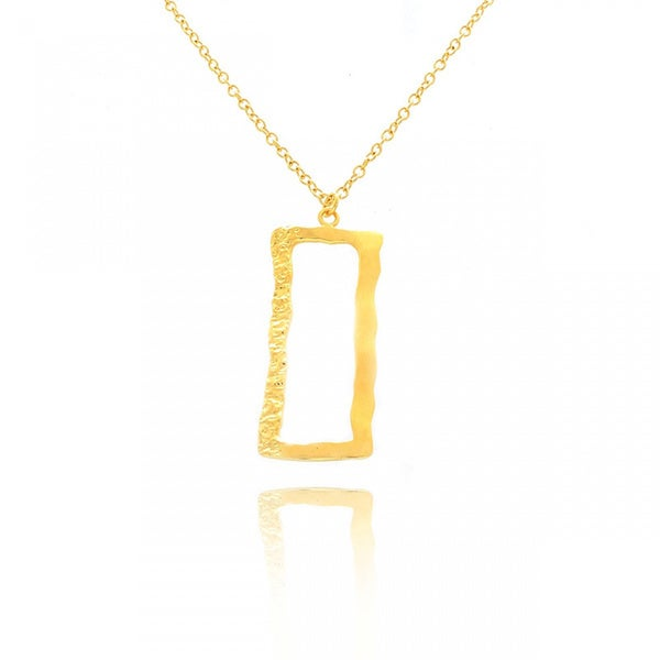 Belcho 14k Gold Overlay Half-hammered Rectangular Pendant Necklace