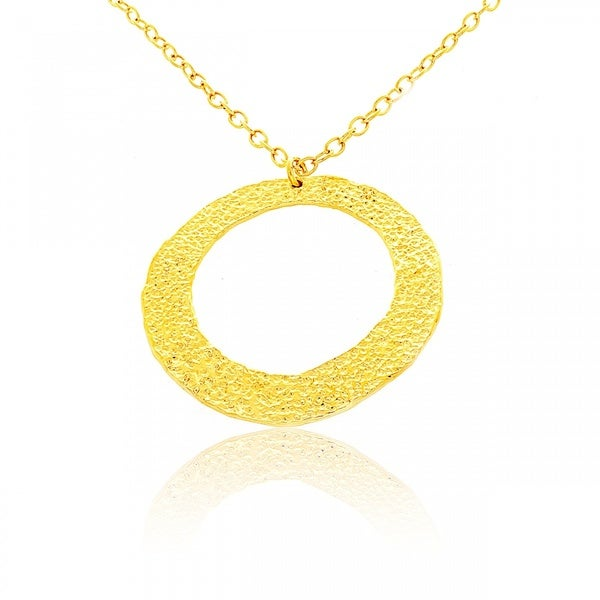 Belcho Gold Overlay Large Hammered Ring Pendant Necklace