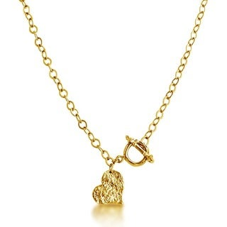 Gold Overlay Hammered Heart Pendant Front Toggle Clasp Necklace