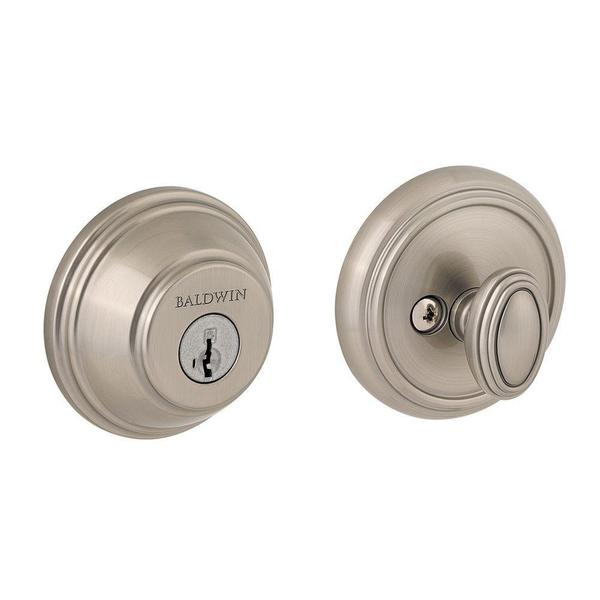 Prestige Single-cylinder Satin Nickel Round Deadbolt