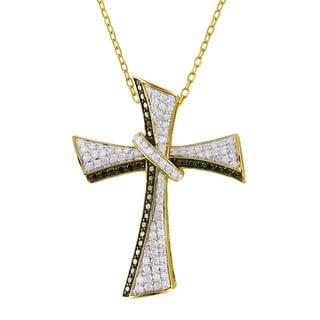 Beverly Hills Charm 14k Yellow Gold 7/8ct TDW Black/ White Diamond Cross Necklace (H-I, I1-I3)
