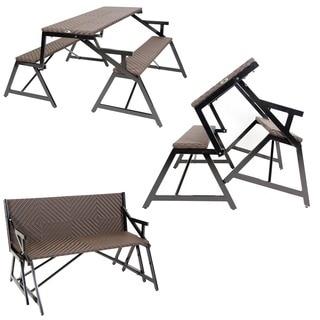 Vero Outdoor Synthetic Rattan Bench Convertible Picnic Table