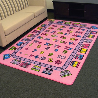 Paradise Alphabets Train Pink Area Rug (5' x 7')