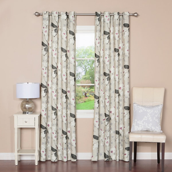 Orchid Print Grommet Top 84-inch Curtain Panel Pair