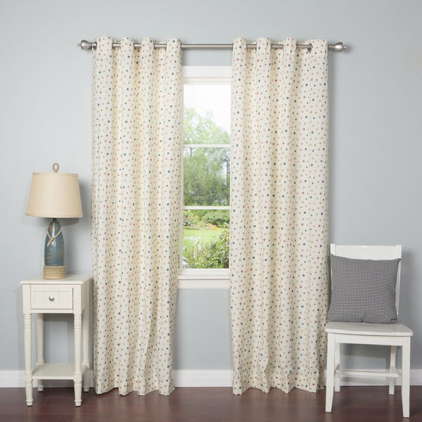 Lights Out Multicolor Circle Dot Grommet Top 84-inch Curtain Panel Pair