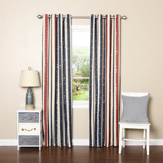Striped Metallic Star Room Darkening Grommet Top 84-inch Curtain Panel Pair