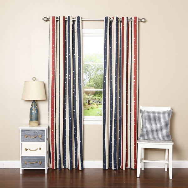 Lights Out Striped Metallic Star Room Darkening Grommet Top 84-inch Curtain Panel Pair
