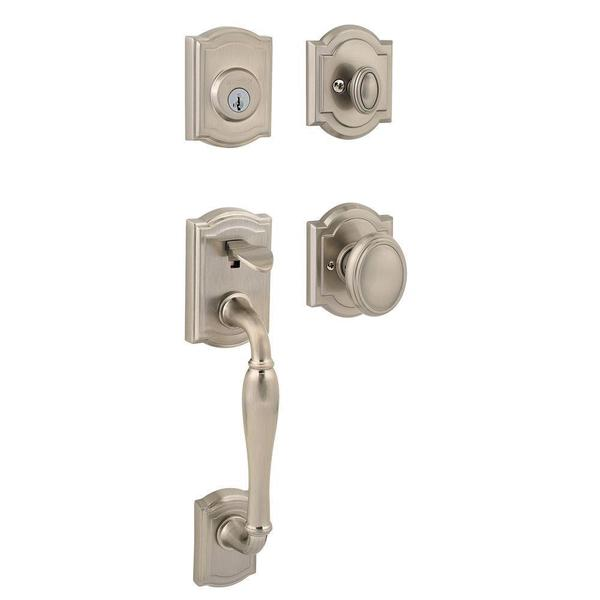 Prestige Wesley Single-cylinder Satin Nickel SmartKey Handle Set with Carnaby Entry Knob