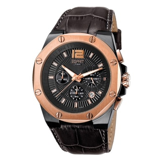 Esprit Men's ES102881008 Rosegold Chronograph Brown Leather Watch
