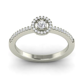 18k White Gold 1/8ct TDW Round-cut Halo Diamond Ring (G-H, SI1-SI2)