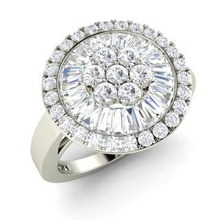 18k White Gold 5/8ct TDW Round and Baguette Diamond Ring (G-H, SI1-SI2)