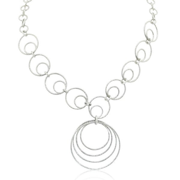 Gioelli Sterling Silver Textured Circular Chain Necklace
