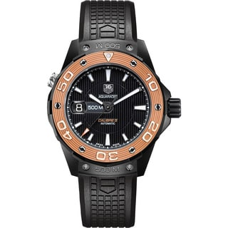 Tag Heuer Men's WAJ2182.FT6015 Aquaracer Automatic Black Dial Rose Gold Bezel Black Titanium Watch