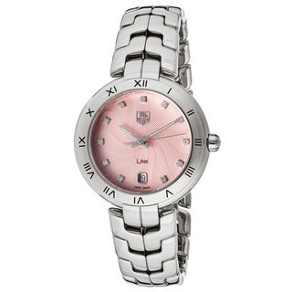 Tag Heuer Women's WAT1313.BA0956 Link Diamond Pink Guilloche Dial Steel Watch