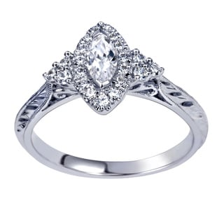14k White Gold 1/2ct TDW Marquise Diamond Ring (H-I, I1-I2)