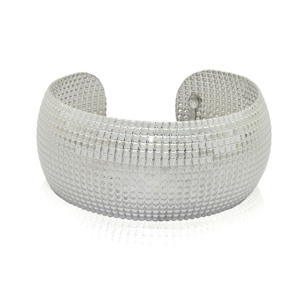Gioelli Sterling Silver Wide Designer Cuff Bracelet