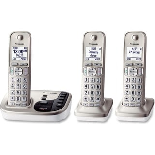 Black Expandable Digital Phone with Answering Machine and 3 Cordless Handsets