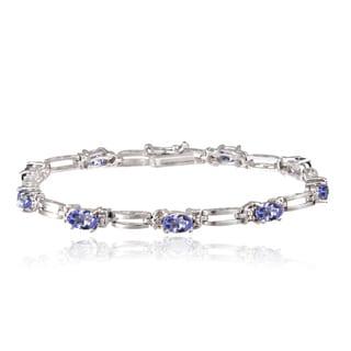 Glitzy Rocks Sterling Silver 5ct TGW Tanzanite and Diamond Accent Bracelet