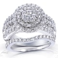 Annello 14k White Gold 2 1/4ct TDW Diamond Halo Cluster Bridal Ring Set (H-I, I2-I3)