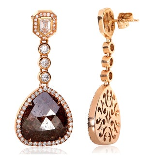 Annello 14k Rose Gold 11 7/8ct TDW Pear Cut Opaque Brown Diamond Earrings (G-H, I1-I2)