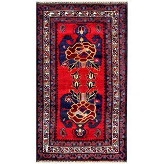 Hand-knotted Afghan Tribal Balouchi Red/ Navy Wool Rug (2'5 x 4'5)