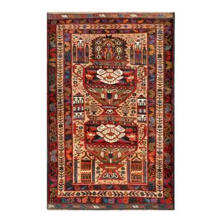 Herat Oriental Afghan Hand-knotted Tribal Balouchi Beige/ Mustard Wool Rug (2'9 x 4'9)