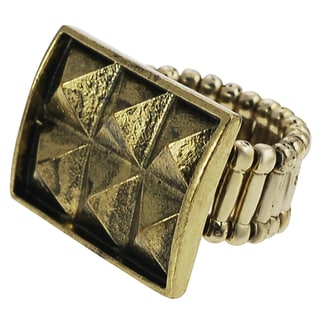 Journee Collection Base Metal Pyramid Stud Stretch Ring