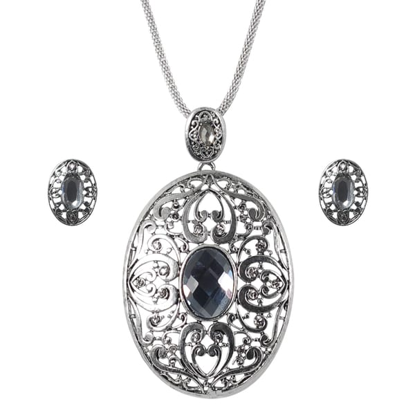 Journee Collection Base Metal Rhinestone Filigree Necklace and Earring Jewelry Set