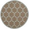 Safavieh Indoor/ Outdoor Moroccan Courtyard Brown/ Aqua Rug (5' Round)