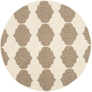 Safavieh Indoor/ Outdoor Courtyard Beige/ Brown Rug (5'3 Round)