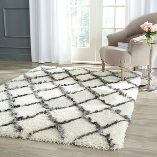 Safavieh Moroccan Shag Grey and Ivory Rug (5'1 x 7'6)