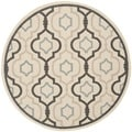 Safavieh Indoor/ Outdoor Courtyard Beige/ Black Rug (5'3 Round)