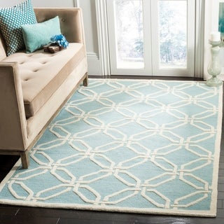 Safavieh Handmade Moroccan Cambridge Light Blue/ Ivory Wool Rug (8' x 10')