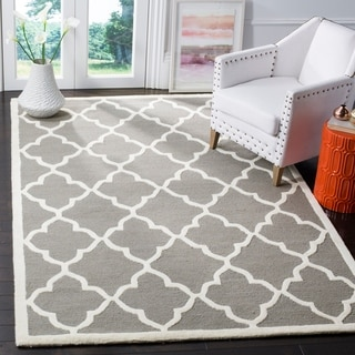 Safavieh Handmade Moroccan Cambridge Light Grey/ Ivory Wool Rug (8' x 10')