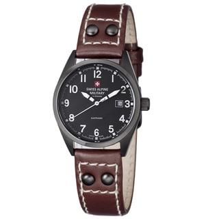 Swiss Alpine Military Women's 3293.1577 SAM 'Leader' Black Dial Brown Leather Strap Watch