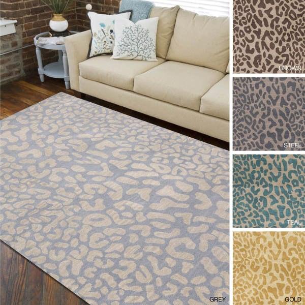 Hand Tufted Jungle Animal Print Wool Area Rug 4 X 6