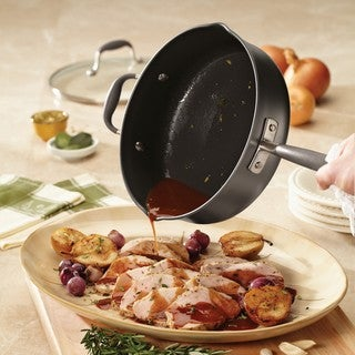 Anolon Advanced Hard-Anodized Nonstick Grey 4-quart Covered Saute with Pour Spouts and Helper Handle
