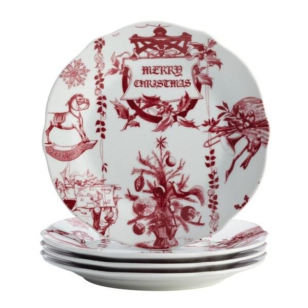 BonJour Dinnerware Yuletide Garland 4-piece Print Porcelain Fluted Salad Plate Set