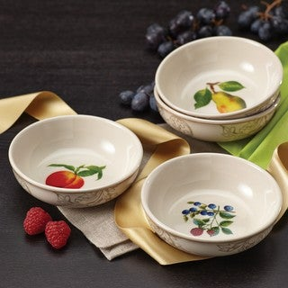 BonJour Dinnerware Orchard Harvest Stoneware 4-piece Fruit Bowl Set