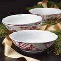BonJour Dinnerware Yuletide Garland Print 4-piece Porcelain Stoneware Fluted Cereal Bowl Set