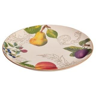 BonJour Dinnerware Orchard Harvest Stoneware 12-inch Round Platter
