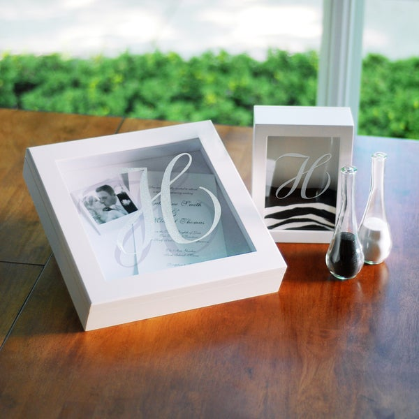 Personalized White Wedding Shadow Box Set
