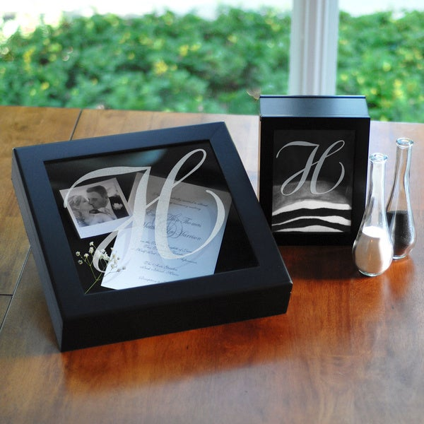 Personalized Black Wedding Shadow Box Set