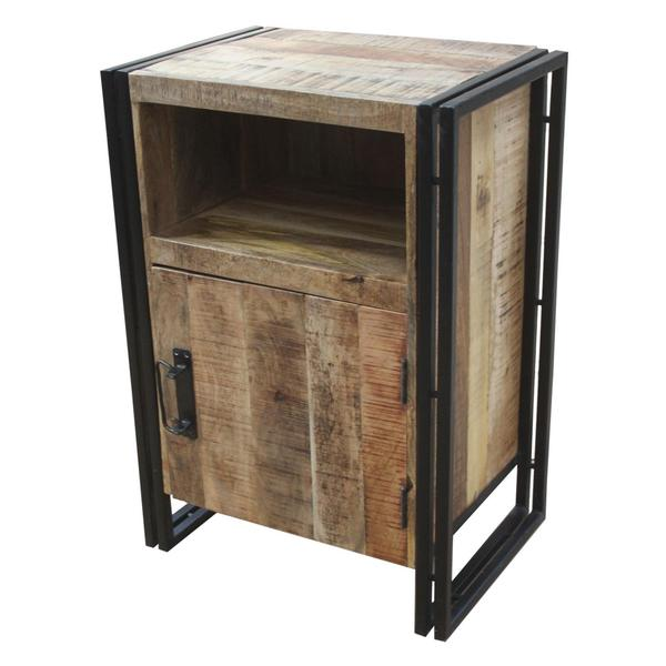 Wood Bedside Table : Timbergirl Industrial Reclaimed Wood and Iron 1-door Bedside Table ...