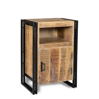 Industrial Reclaimed Wood and Iron 1-door Bedside Table (India)