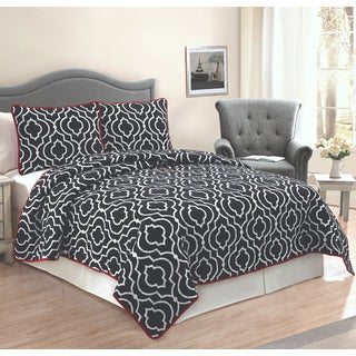 Ogee Floral Cotton 3-piece Quilt