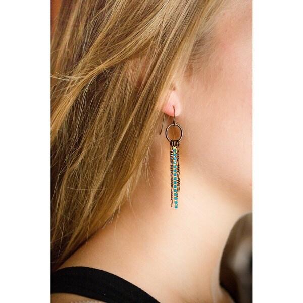Hollywood Boulevard Caribbean Opal Blue Crystal Dangle Earrings